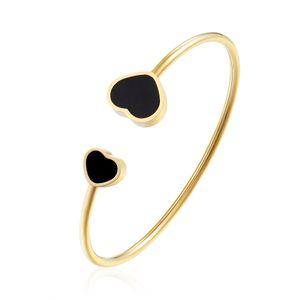 2019 brand fashion luxury new Titanium steel heart-shaped women bracelet open both Peach heart bracelet wholesale
