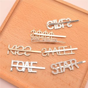 Letters Rhinestone Hairpin Silver Gold Letter Word Crystal Hairpin Girl Rhinestone Barrette Ornament Gift Hair Accessories CCA3152