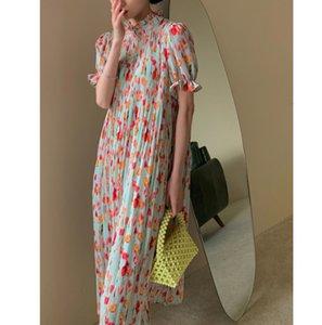 2020 summer new retro temperament waist dress women mid-length round neck A-line color French chiffon skirt