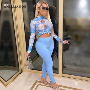 Anjamanor Angel 인쇄 긴 소매 자르기 상단 및 바지 두 조각 세트 가을 2020 여성 의류 섹시한 클럽 복장 Jumpsuit D57-DA30