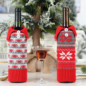 Xmas Red Knit Wine Cover Bag Snowflake Designer Wine Bottle Case Christmas Decoration For Outside Inside DA035