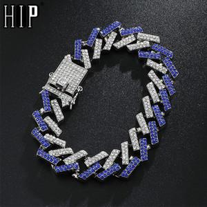 Hip Hop 15MM Bling Iced Out Full Rhinestone браслет Геометрическая CZ камень кубинские цепи браслеты для мужчин Ювелирные изделия