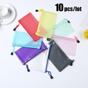 10 pcs lot Multiple Colors Plastic Double Layer Paper Document File Bill Zipper Bag Pencil Pouch Gift bag