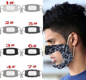 Printed Unisex Cotton Adult Mouth Face Mask With Clear Window Visible Deaf Mute Masks Windproof Dustproof Washable Reusable FY9151