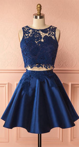 Lovely See-through Scoop Collar Leaves Pattern Lace 2 Pieces Navy Blue Knee Length Short Prom Dress Little Party Dress Graduation Dress