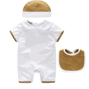 2021 New 3pcs Sets For Baby Boys Girls Rompers Toddler Cotton Short Sleeve Jumpsuits Summer Infant Onesies Romper+Bib+Hat Kids Clothes