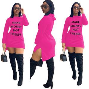 Artı boyutu Kadınlar Elbiseler Seksi Mektupları Baskı Money Değil Arkadaş Casual Katı Renk Sonbahar Kapşonlu Uzun Kollu Tek parça elbise D102201