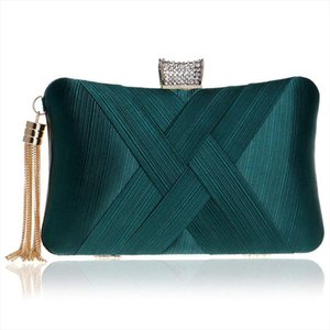 Womens Evening Clutches Bags Silk Satin Party Handbags Bridal Wedding Prom Purses with Tassel Pendant,Dark Green
