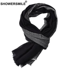 SHOWERSMILE Black Cotton Linen Scarf Men Long Patchwork Scarf for Men Tassel Winter Mens Scarves Fashion Men's Accessories