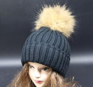 Luxury-Caps Large Winter Raccoon Winter Knit Hats Thick Autumn Hat 18cm Lady Wool Beanies And Knitted Ball Caps Ball Hats Beanies Warm sqcMd