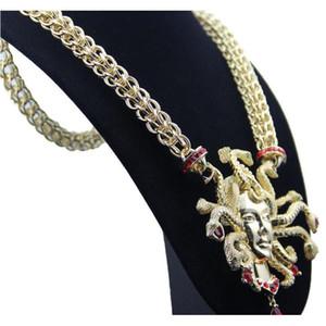 Retro Nine Snake Head Necklace Female clavícula Cadena de oro Exageración Gran tamaño CHARM NE WMTFKV Queen66