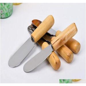 Spatula de manteiga de cutelaria de aço inoxidável com alça de madeira Manteiga de manteiga queijo dessert geléia sqcleb wphome