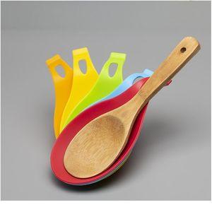 1 pcs 9.5 * 19.5cm Cozinha Suprimentos Sile Colher Colher Spot Spoon Pad Prateleira Suporte Espátula Euro Jlleer