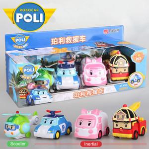 4pcs niño original Poli Poli RoboCar Corea inerciales de coches Juguetes para niños Transformación figura de acción animado juguetes para niños Playmobil 1008