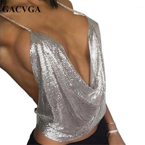 Großhandel - GACVGA 2017 Sexy Backless Pailletten Frauen Crop Tops Halftank Camis Sommer Cropped BH Crop Top Strap Damen Party Weste Blusa1