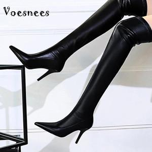 Vesees 2020 Новые Женские Сапоги Мода Заостренное Сексуальное Стелето Высокие каблуки 9.5 см плюс бархат Высокая трубка над натягивающимися сапогами