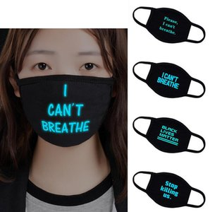 New Style I Cant Breathe Face Masks Washable Cotton Black Lives Matter Masks Three Layers Masks Glowed Designer Scarf Adults OWA4