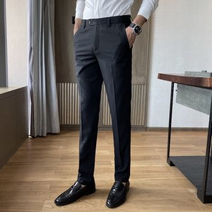 Autumn Suit Pants Men Fashion Casual Elastic Long Trousers Male Straight Business Suit Pants Large Size men's long trousers