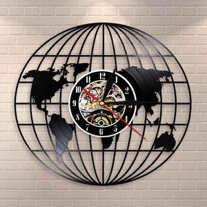 3D-Globe-Karte der Erde Vinyl Record Wall Art Travel Geschenke All Around The World Earth Map-dekorative Wand-Uhr Vintage Clock
