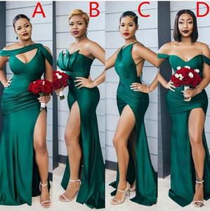2021 Modest Modest Emerald Green Side Dividido Dama larga Dama de honor Sexy Bodas Bodas Vestidos Diferencia Diferencia Escote Barato Vestido de dama de honor