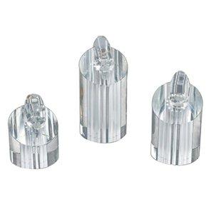 Anel de haste acrílico Carrinho de três peças Transparent Ring Display Stand Jóias