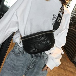 Wave Waist Pack Women Love Heart Pattern Pu Leather Fanny Packs Heat Shape Girls Female Chest Bag Money Belt Phone Travel Bags