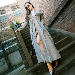 Le donne inverno di pelliccia di lusso decorato lana Giacca elegante extra lunga Design cappotto di lana