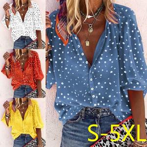 Polka Dot Shirt Women Lapel Plus Size Women's Blouse Ladies Red White Blue Shirts Fashion Apparel Button Tops Open Stitch