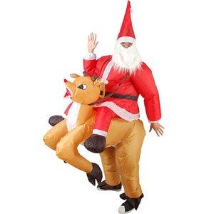 Рождественские надувные Санта мультфильм платье костюм олень взрослый реквизит, езда талисман олень Claus одежда кукла надувной HHH UWVEU