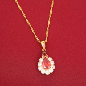 Trendy 3 Color Zircon Stone Pendant Necklace Bule White Red Water Drop Crystal Druzy Jewelry
