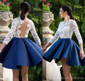 White and Royal Blue Evening Dresses Short 3 4 Long Sleeves Lace Satin A Line Sexy Illusion Back Lace Applique Prom Cocktail Party Gown