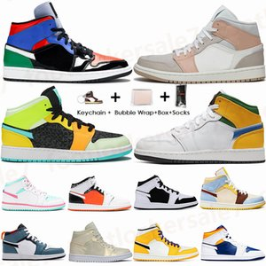 2021 Mid Jumpman 1 Sneakers OBSIDIAN Panda Branco Destemido UNC EUA Royal Blue multi Tribunal roxo Espírito Teal 1s Shoes Mens Basketball instrutor