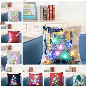 Funda de almohada cubierta lumínica LED de lino fundas de almohada del amortiguador de luz Navidad de la cubierta de almohada Inicio Sofá decoración del coche de OWL OWF1173