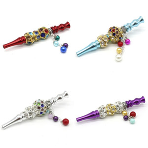 Bling Blunt Holder Pipe Colorful Rhinestone Beaded Cigarette Holde Hookah Shisha Creative Handmade Alloy Detachable Pendant Hot Sale 15kl D2