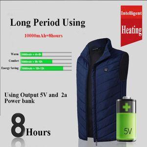 USB Men Women Electric Heating Vest Jacket Clothing Skiing Winter Warm Heated Pad Graphene Carbon Fiber Heating Down Jacket 4XL
