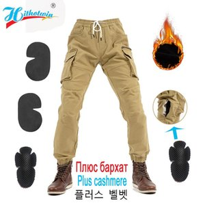 Plus velvet Motorcycle Pants Men Windproof Protective Gear Motocross Riding Trousers Keep warm in winter Moto Pants Work clothes