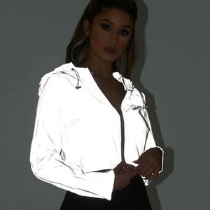Liva girl Spring New Reflective Female Jacket Casual Sport Hooded Short Coat Women Crop Top Casaco Feminino Manteau Femme 201017