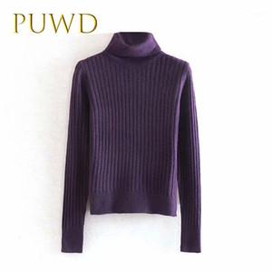 PUWD 2019 otoño nuevo suéter de la parte inferior de las señoras, collar de alto cuello camisa de punto Purple1