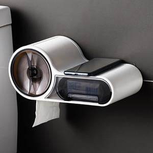 Baffect baño papel higiénico Porta papel higiénico de papel caja de plástico dispensador montado en la pared del rollo de papel Caja de almacenamiento gratuito de perforación C1016