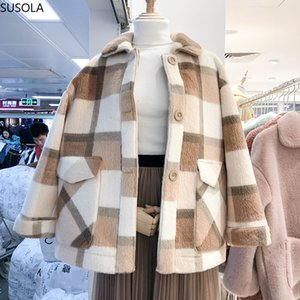 2020 Giacche autunno per le donne Moda misto lana Faux Fur Coats Femminile giacca invernale cappotto donne loose thick WarmX1020