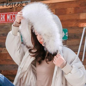 Tcyeek Winter Down Jacket Women + Raccoon Fur Hooded Thick Warm White Duck Down Coat Female Hiver Clothing Casual Outwear 8018