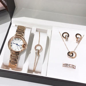 2021 Новая мода Высокое качество Леди Часы Ювелирные Наборы Кольца Ожерелья Серьги Браслеты Женские Подарок Классический Наручные Часы Женщина Ювелирные Изделия