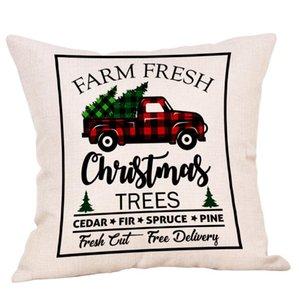 Christmas Fronha Caminhão Xmas Árvore de Xmas Holding Travesseiro Capa de Linho Desenhos Animados Capas Capas de Almofada Bordado Decoração 45 * 45cm EWF2245