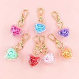 Valentines Day Gifts Rose Preserved Flower Keychain Female Bag Pendant Love Keychain Party Favor 7 Color DHD4570
