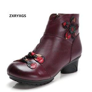 2020 encanto del color de la flor de otoño invierno botas de cuero de vaca calza botas elegantes de la manera Comfort talón grueso de las mujeres tobillo de los zapatos