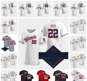 2020 Washington Ulusal Jersey 34 Harper 22 Juan Soto 7 TREA Turner 31 Max Scherzer 37 Stephen Strasburg Beyzbol Formaları 13 Cabrera 06