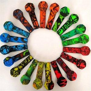 Piedra de silicona de silicona de graffiti colorido Tubo de tabaco de humo de silicona con tazón de acero inoxidable Tubos de silicona Tubos de mano Hierba Fumar