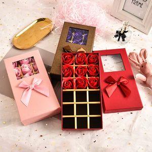 Boîtes d'emballage au chocolat Saint Valentin Cadeaux Fleur Boîtes cadeaux Ouvrir la fenêtre Transparent Bow Boîte Cadeau de chocolat Boîte d'emballage XD24460