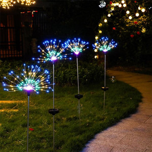 New Solar Fireworks Lights 90 120 150 LED String Lamp Waterproof Outdoor Garden Lighting Lawn Lamps Christmas Decorations lights W002