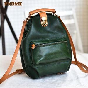 PNDME di alta qualità genuina signore zaino donne del cuoio multifunzionali piccolo bookbag moda vintage verde carino Q1113 bagpack